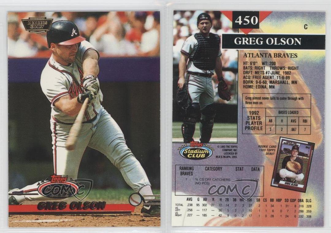 1993 Topps Stadium Club Members Only 450 Greg Olson Atlanta