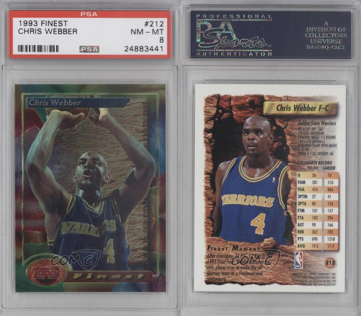 1993-94 Topps Finest 212 Chris Webber PSA 8 Golden State