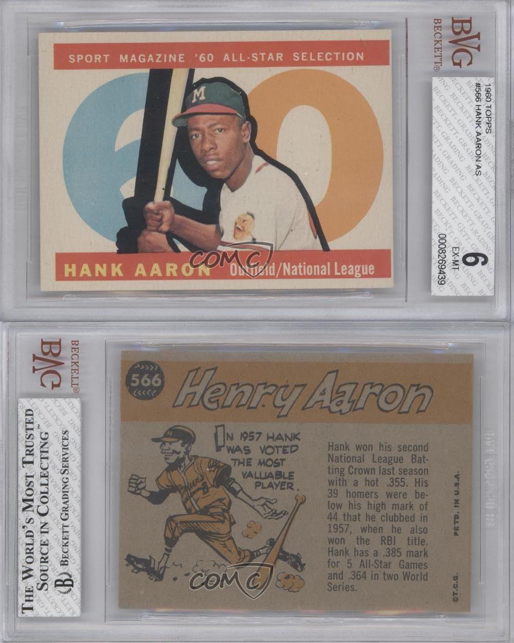 1960 topps 566 hank aaron bvg 6 milwaukee braves baseball card ebay. Black Bedroom Furniture Sets. Home Design Ideas