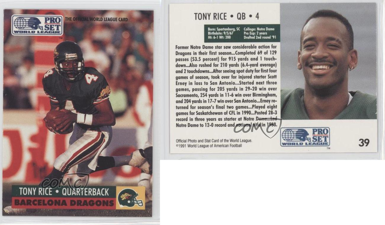 1991 Pro Set WLAF #39 Tony Rice Notre Dame Fighting Irish ...