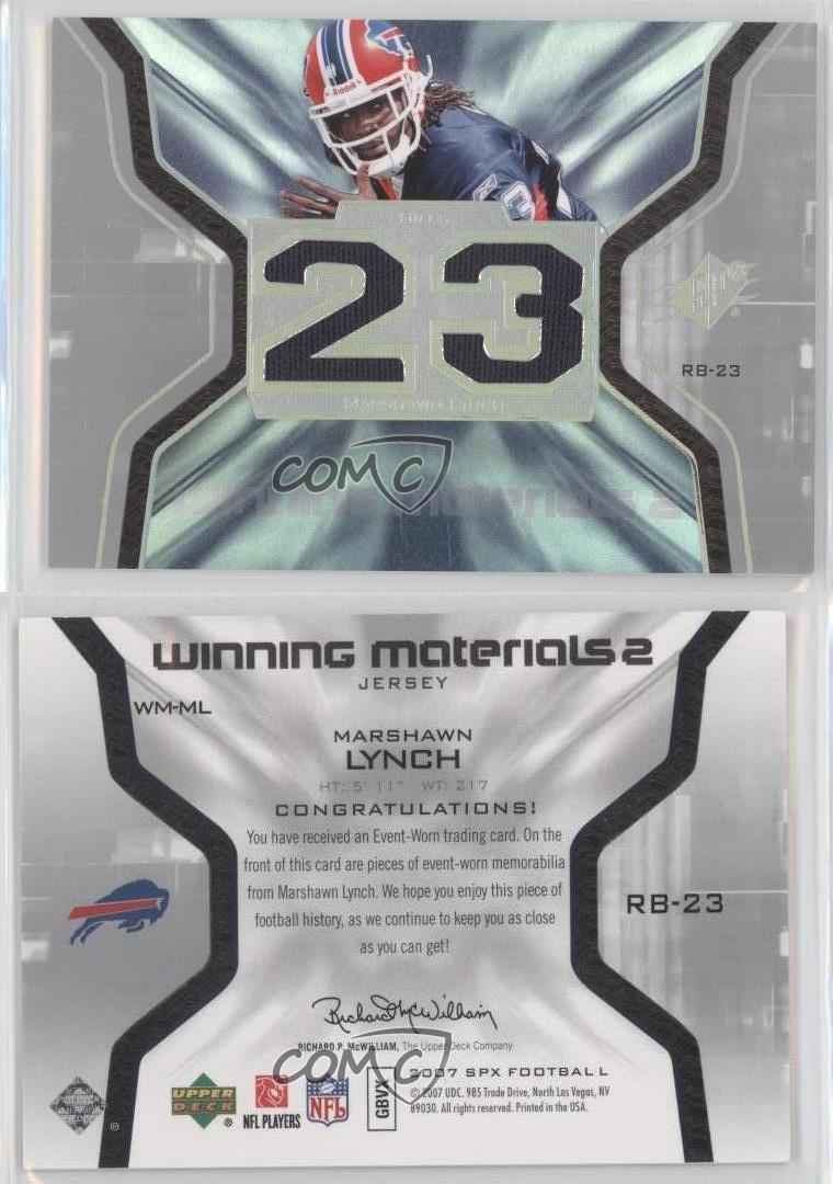 new concept 82f00 092eb 2007 SPx Winning Materials Jersey Number Dual WM-ML Marshawn ...