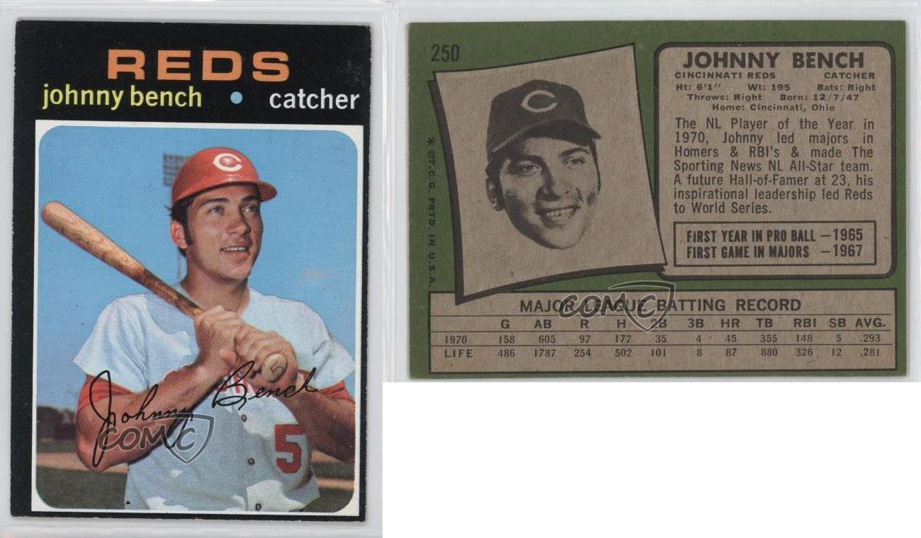 1971 Topps 250 Johnny Bench Cincinnati Reds Baseball Card Ebay