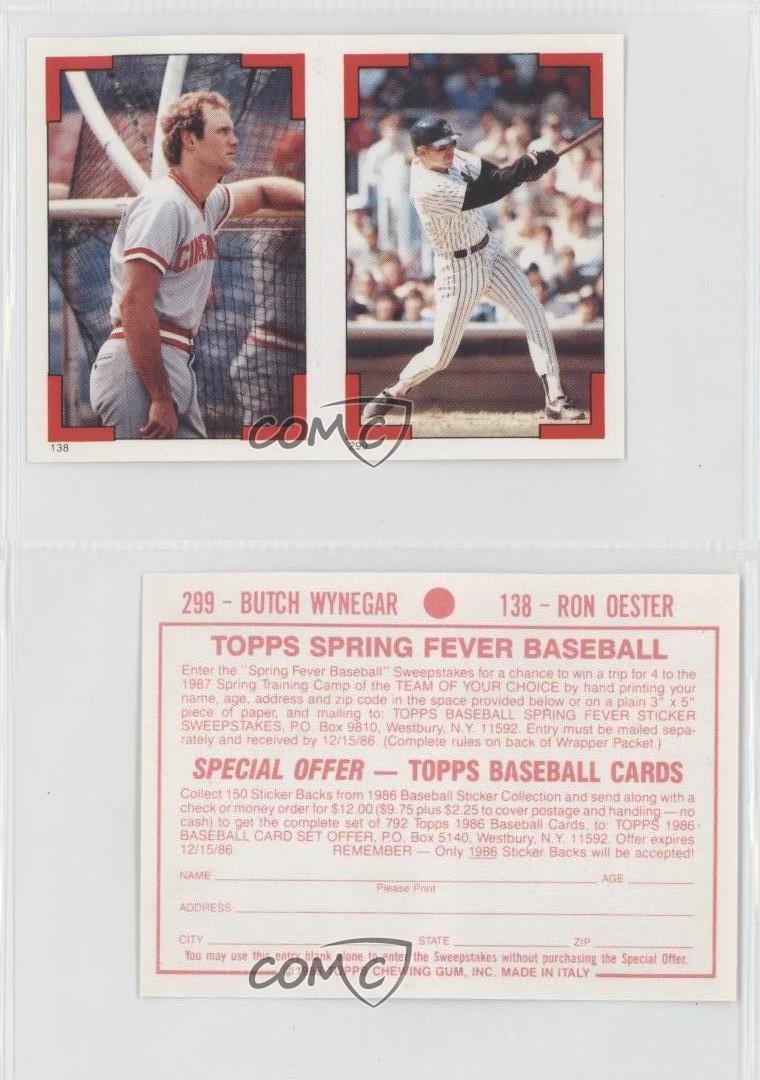 1986 Topps Album Stickers 299 138 Butch Wynegar Ron Oester