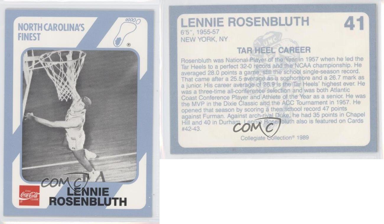1989 90 41 lennie rosenbluth north carolina unc tar for Unc business cards