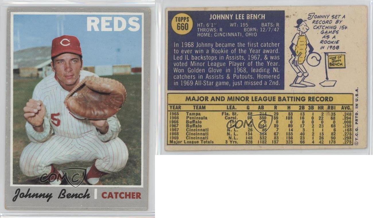 1970 Topps 660 Johnny Bench Cincinnati Reds Baseball Card Ebay