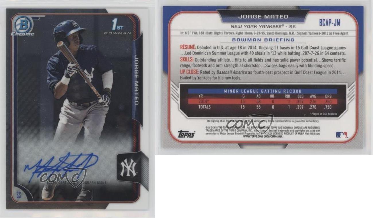 2015 Bowman Chrome Prospects Autographs #BCAP-JM Jorge Mateo Auto Rookie Card