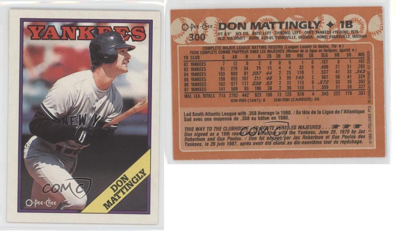1988 O Pee Chee 300 Don Mattingly New York Yankees