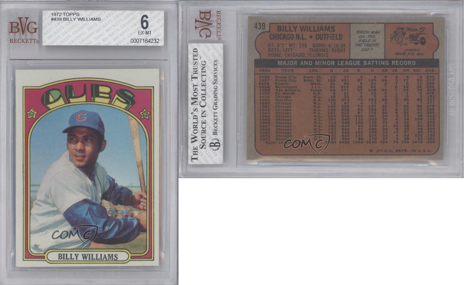 1972 topps 439 billy williams bvg 6 chicago cubs baseball card ebay. Black Bedroom Furniture Sets. Home Design Ideas