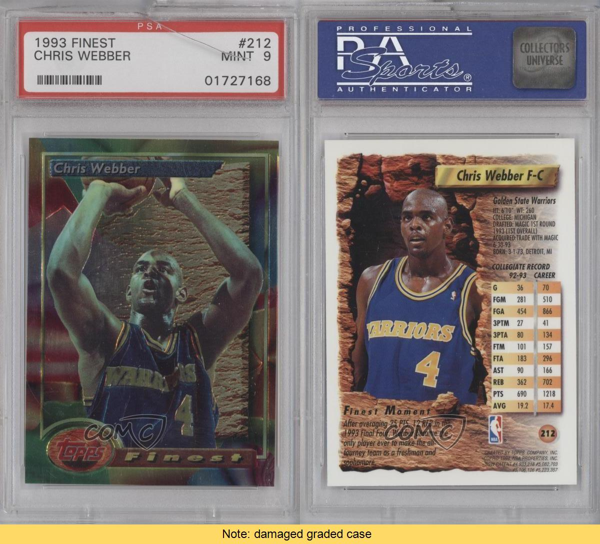 1993-94 Topps Finest 212 Chris Webber PSA 9 Golden State
