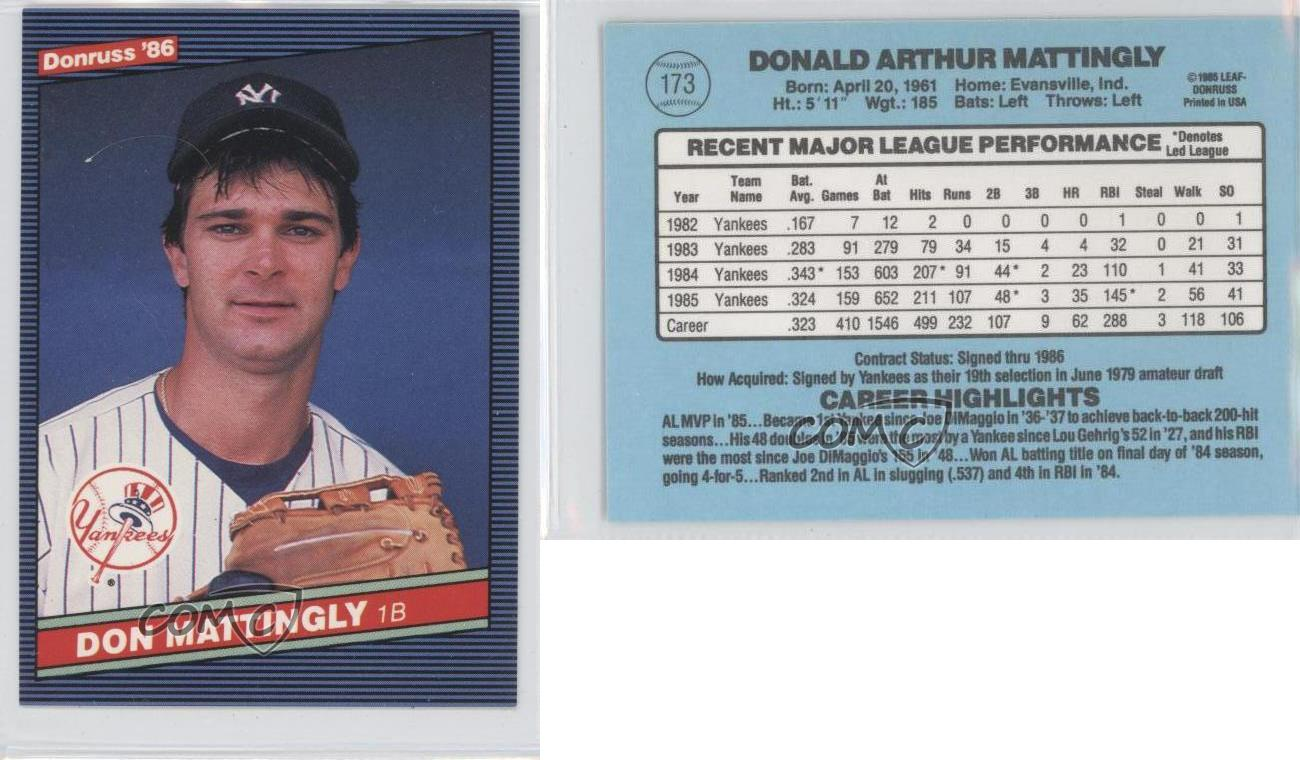 1986 Donruss 173 Don Mattingly New York Yankees Baseball