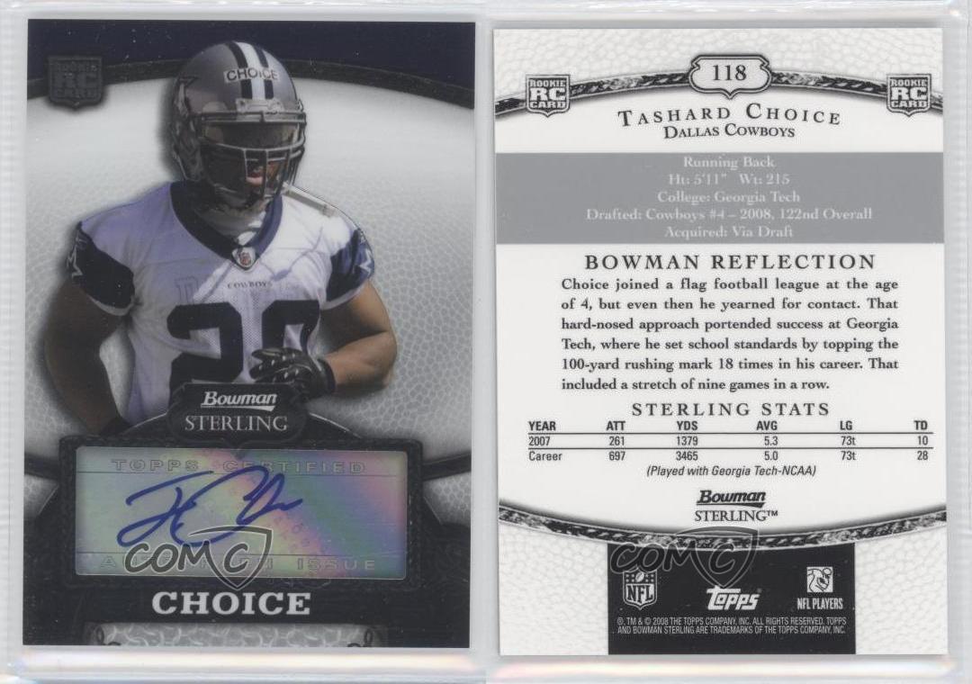 2008 Bowman Sterling 118 Tashard Choice Dallas Cowboys