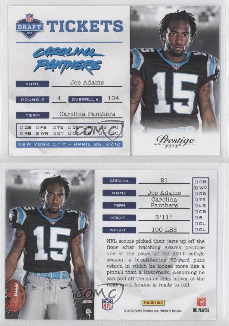2012 Playoff Prestige NFL Draft Tickets #21 Joe Adams ...