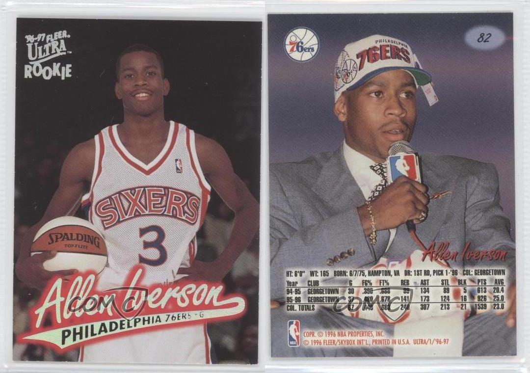 1996 Fleer Ultra #82 Allen Iverson Philadelphia 76ers RC ...