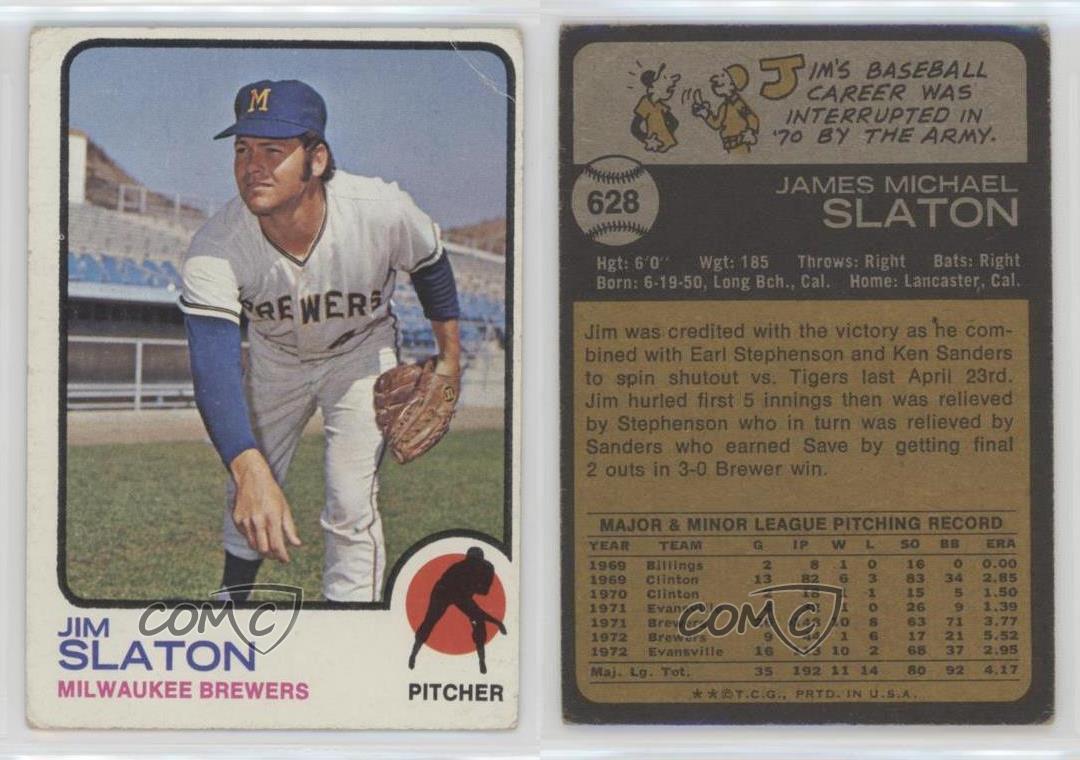 1973 Topps 628 Jim Slaton Milwaukee Brewers Baseball Card