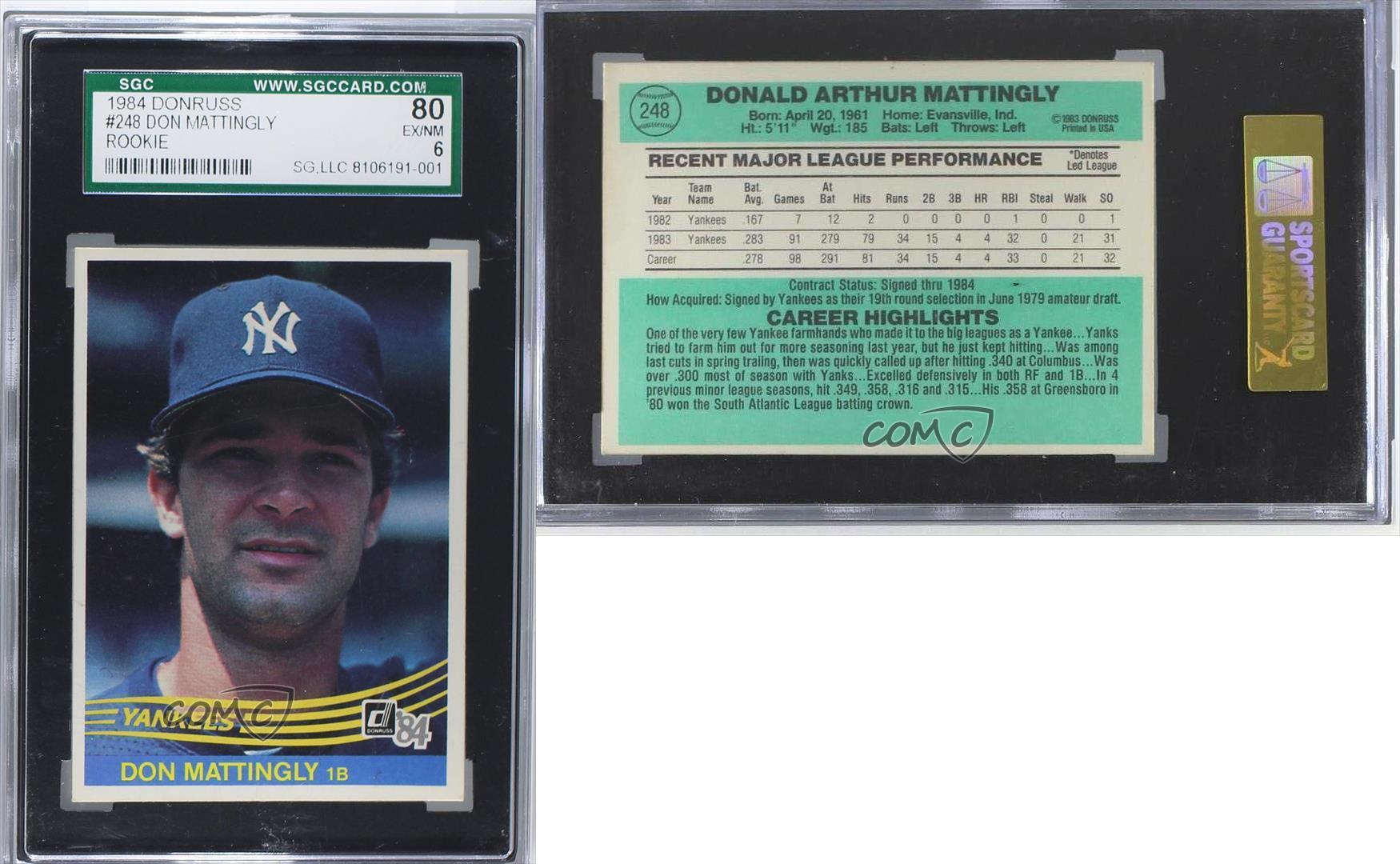 1984 Donruss 248 Don Mattingly Sgc 80 New York Yankees Rc