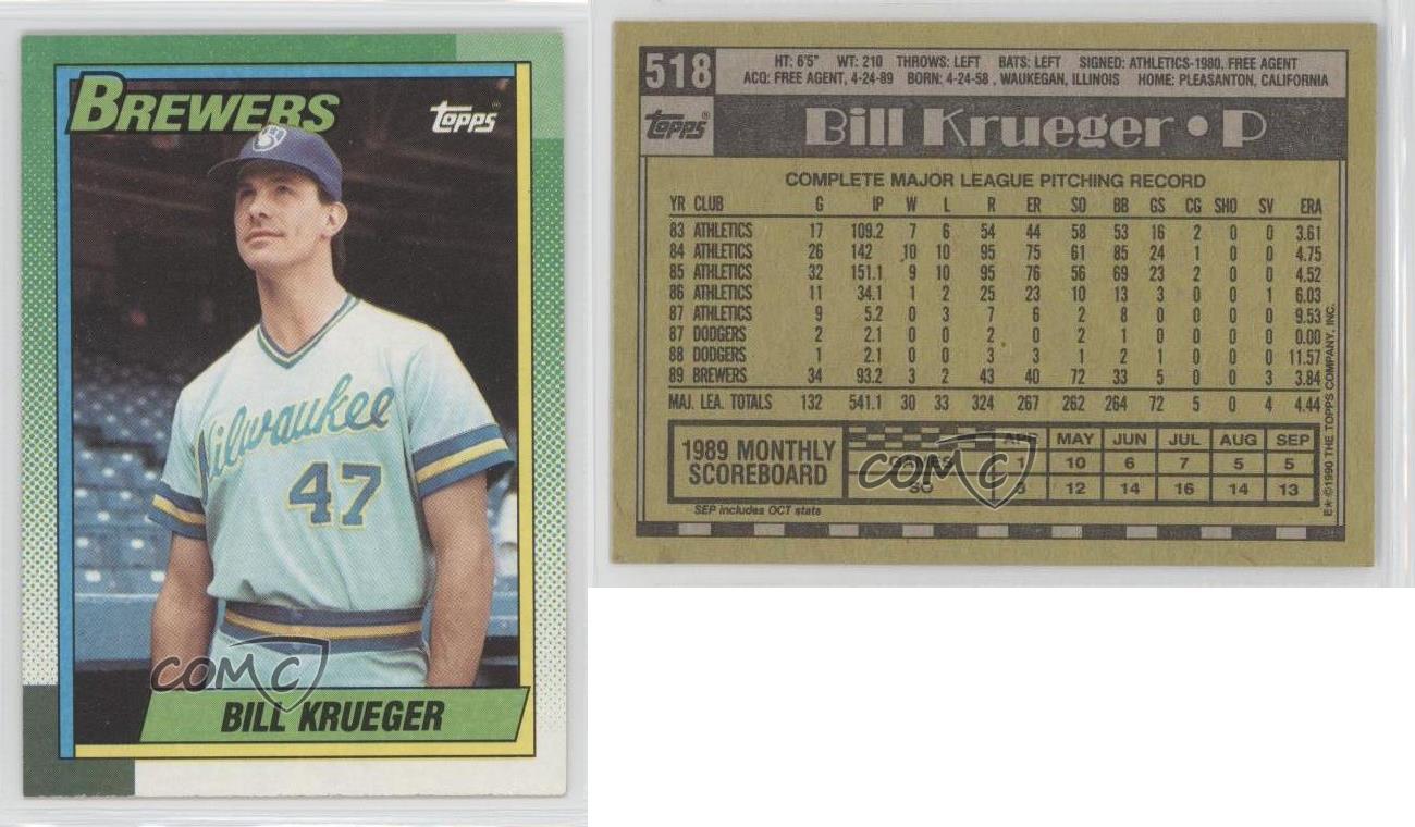 Milwaukee Brewers Bedroom In A Box Major League Baseball: 1990 Topps #518 Bill Krueger Milwaukee Brewers Baseball
