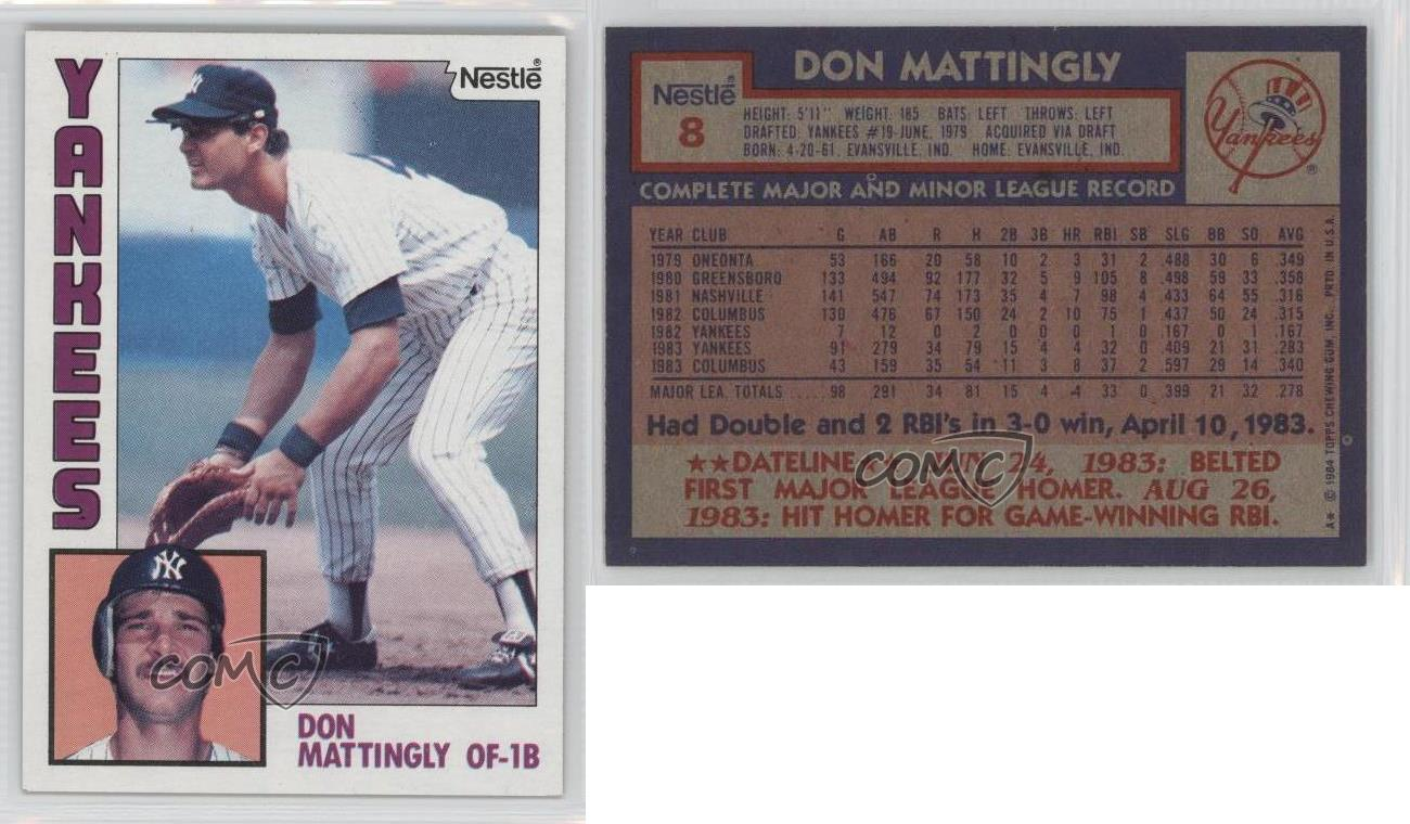1984 Topps Nestle 8 Don Mattingly New York Yankees Rookie