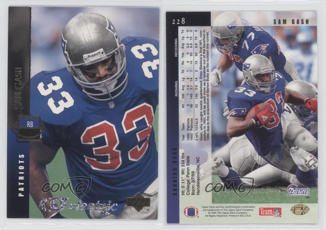 1994 Upper Deck Electric Silver #228 Sam Gash New England Patriots ...
