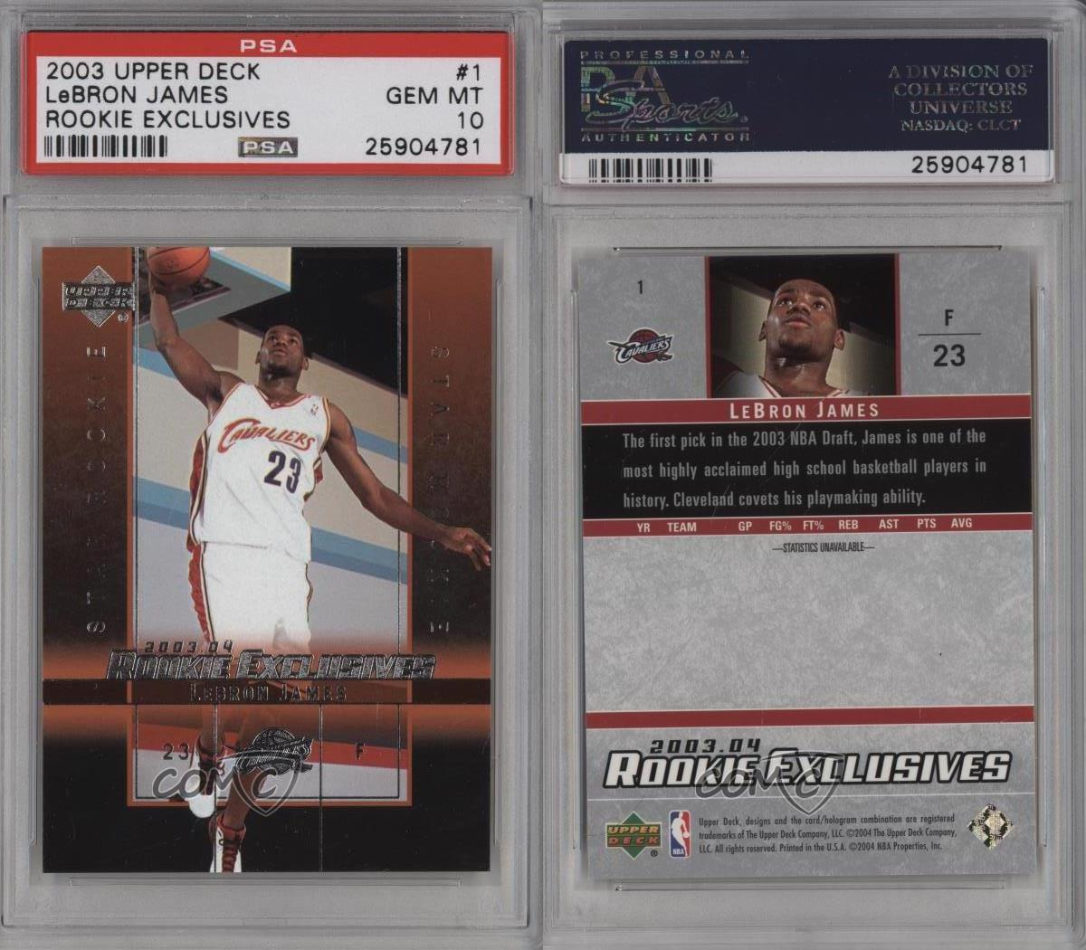 2003 Upper Deck Rookie Exclusives 1 Lebron James PSA 10