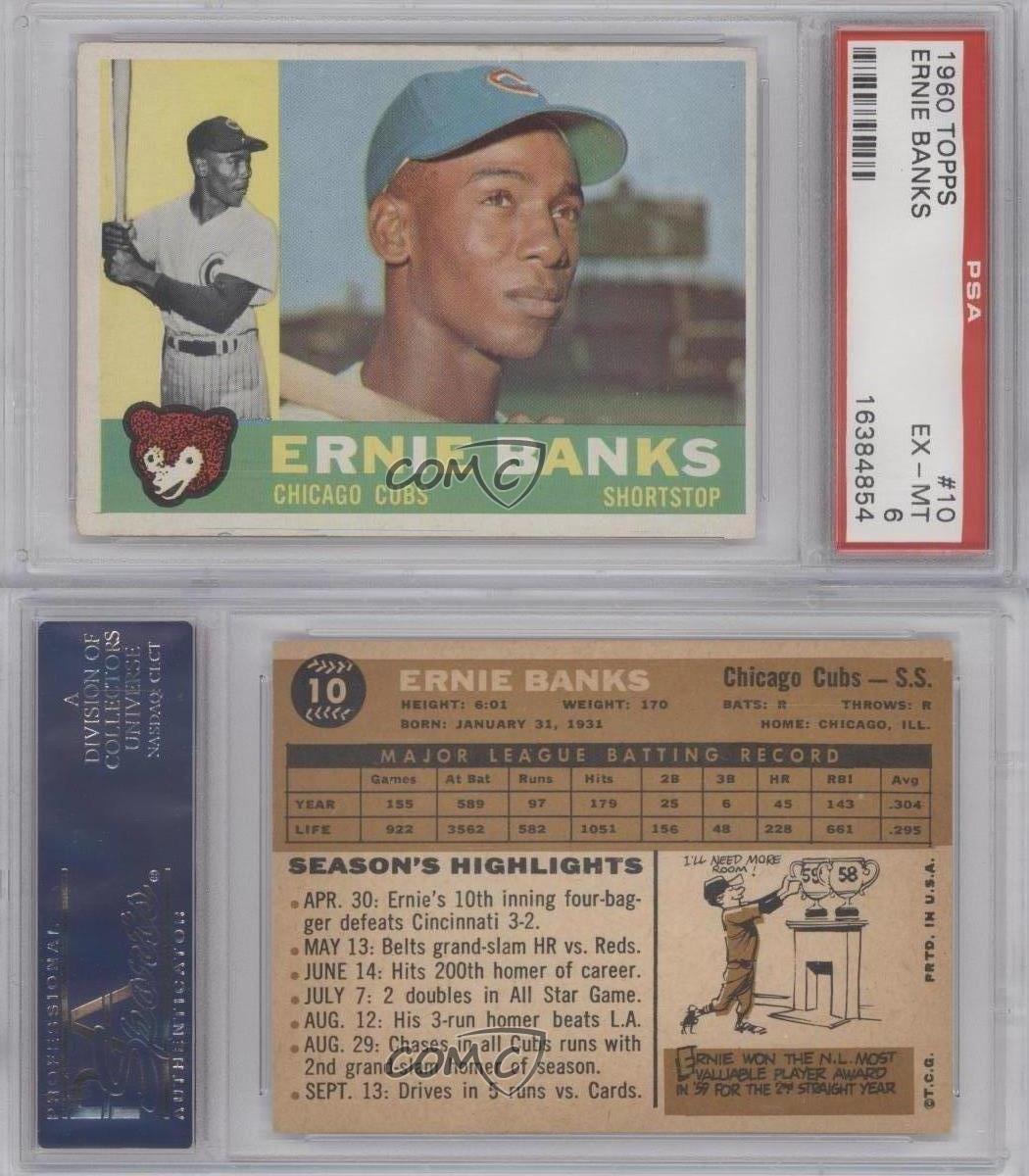 1960 topps 10 ernie banks psa 6 chicago cubs baseball card ebay. Black Bedroom Furniture Sets. Home Design Ideas