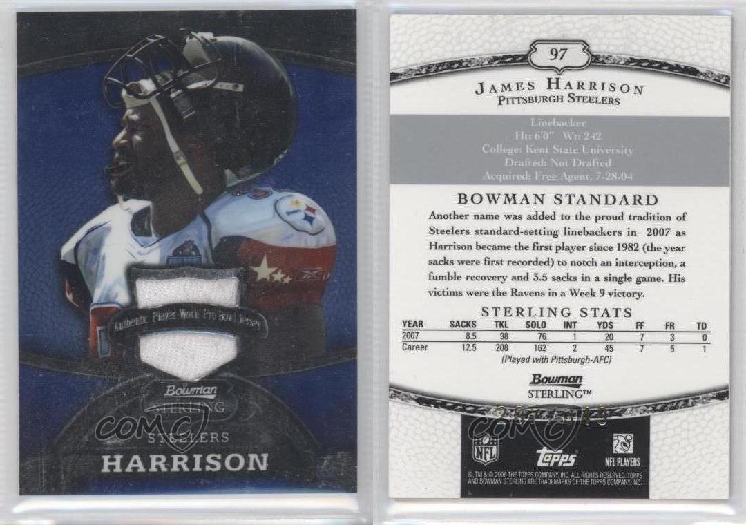 5b775e52a 2008 Bowman Sterling Jerseys Blue 97 James Harrison Pittsburgh Steelers  Card delicate