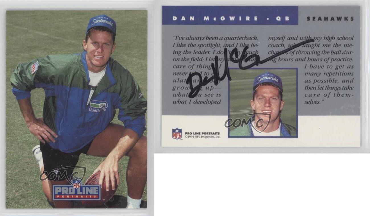 1991 pro line portraits autographs damc dan mcgwire seattle seahawks auto card ebay. Black Bedroom Furniture Sets. Home Design Ideas