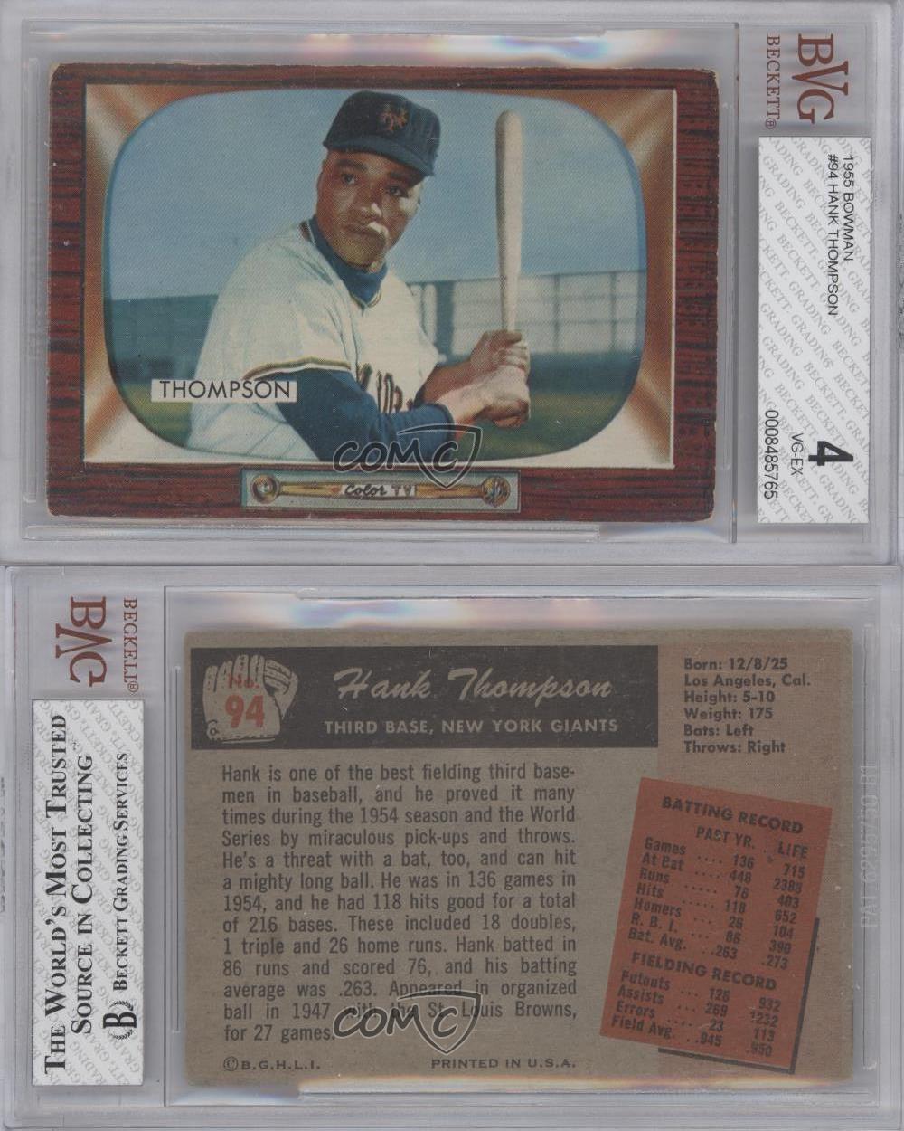 1955 bowman 94 hank thompson bvg 4 new york giants baseball card ebay. Black Bedroom Furniture Sets. Home Design Ideas