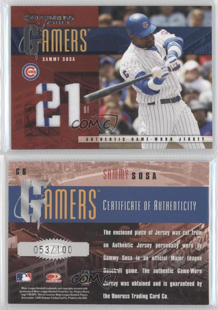 a24f7968b durable modeling 2003 Donruss Gamers Jersey Number G-6 Sammy Sosa Chicago  Cubs Baseball Card