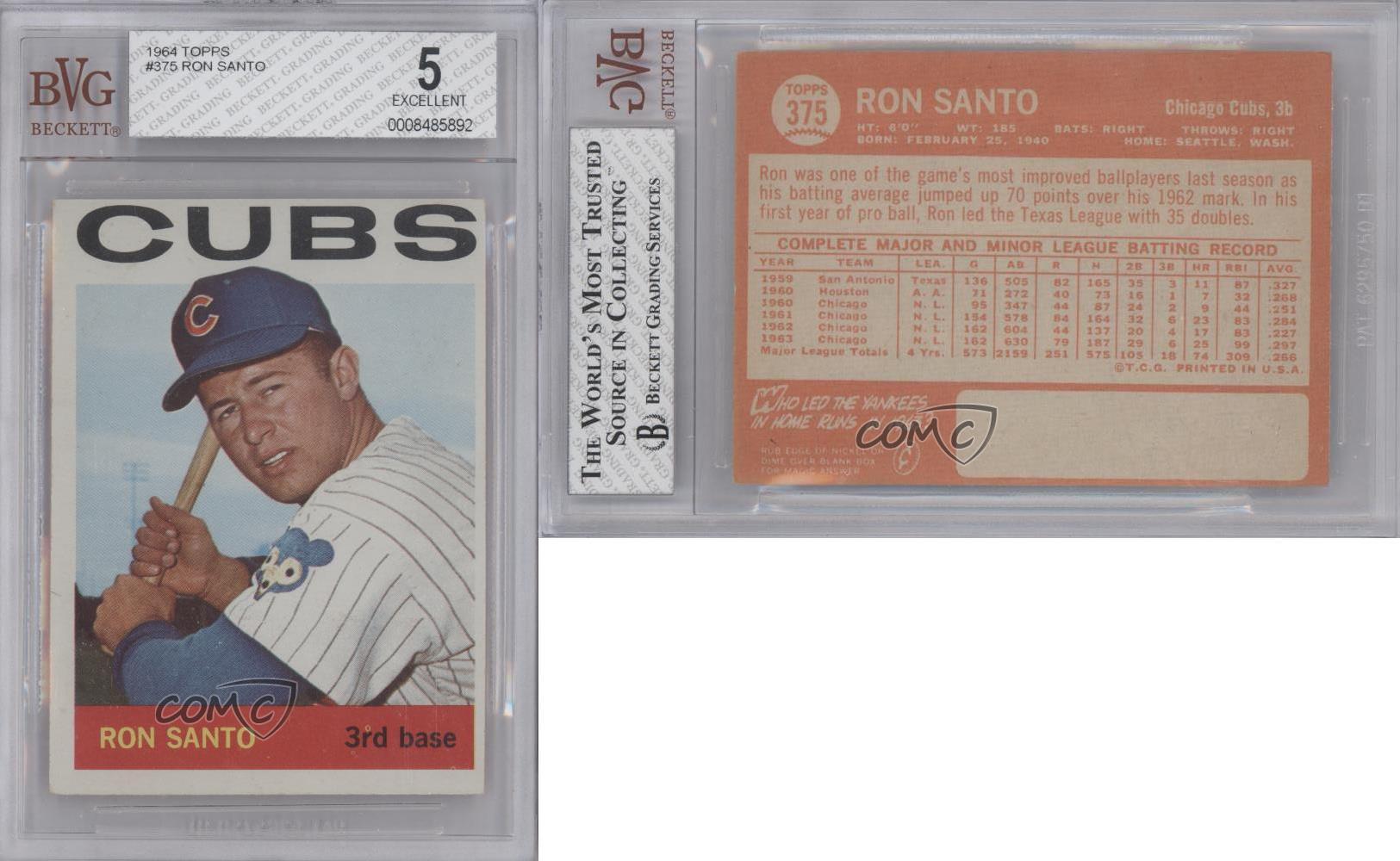 1964 topps 375 ron santo bvg 5 chicago cubs baseball card ebay. Black Bedroom Furniture Sets. Home Design Ideas