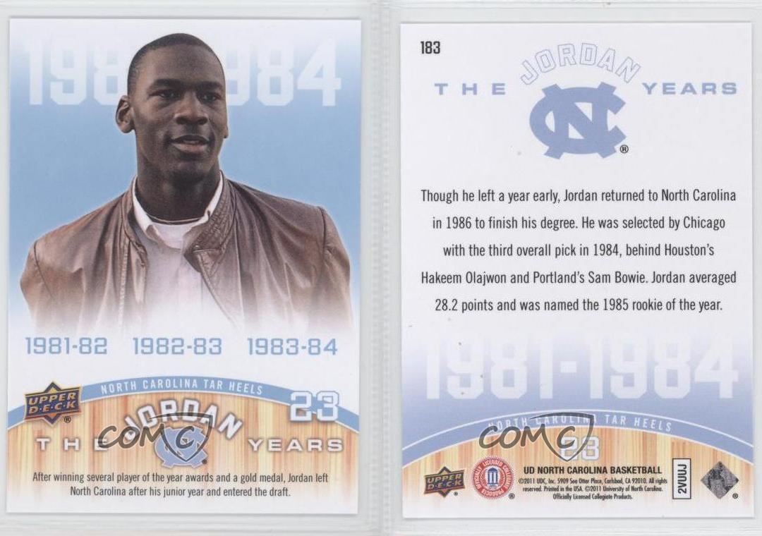 2010 11 ud north carolina basketball 183 michael jordan for Unc business cards