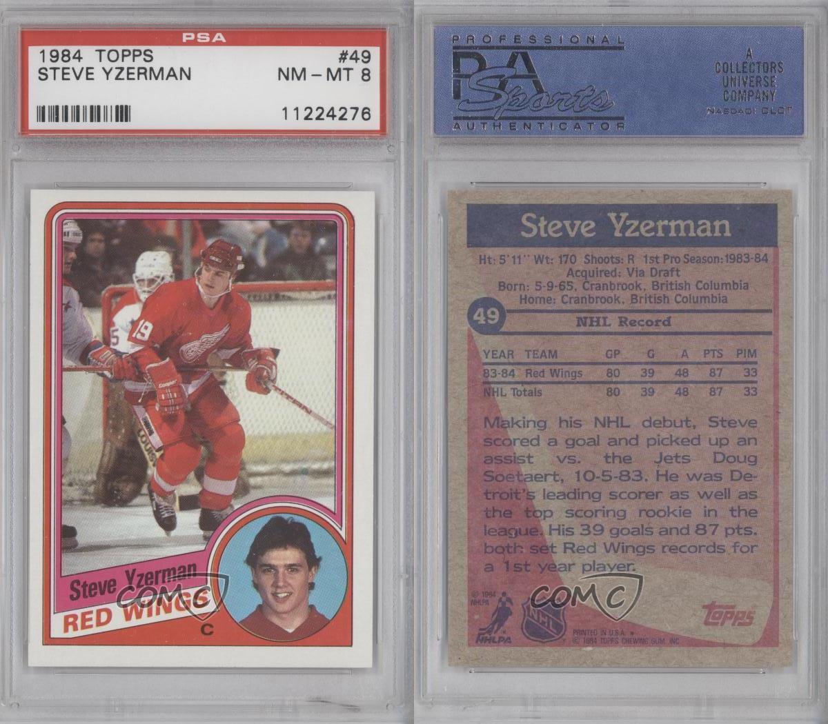 1984-85 Topps #49 Steve Yzerman PSA 8 Detroit Red Wings RC