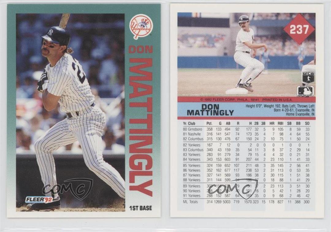 1992 Fleer 237 Don Mattingly New York Yankees Baseball
