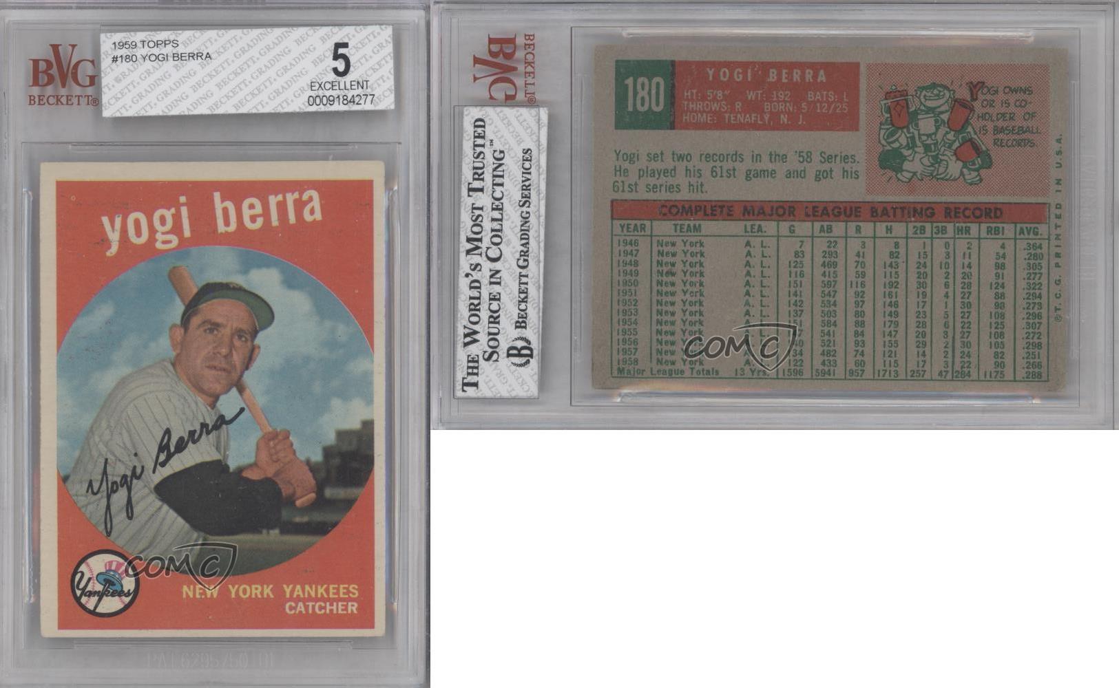 1959 topps 180 yogi berra bvg 5 new york yankees baseball card ebay. Black Bedroom Furniture Sets. Home Design Ideas