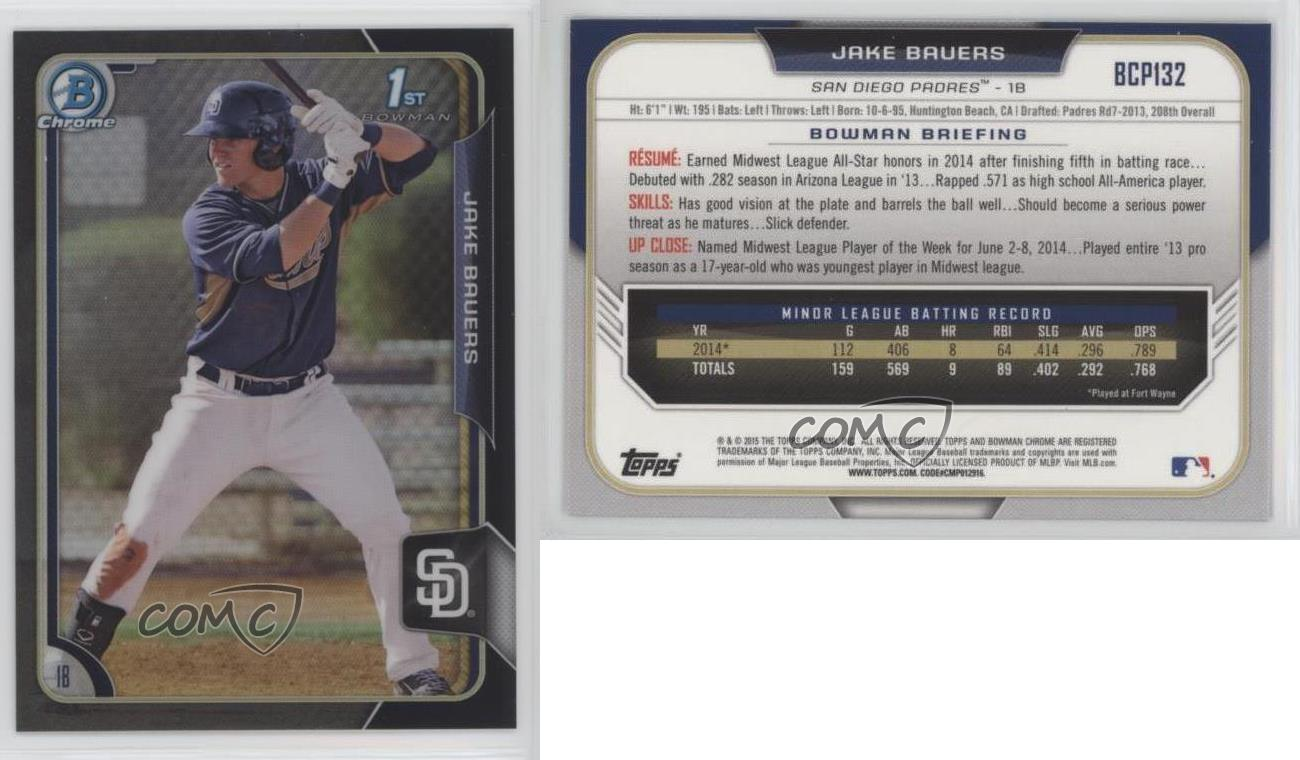 2015 Bowman Chrome Prospects Black Refractor #BCP132 Jake Bauers Rookie Card