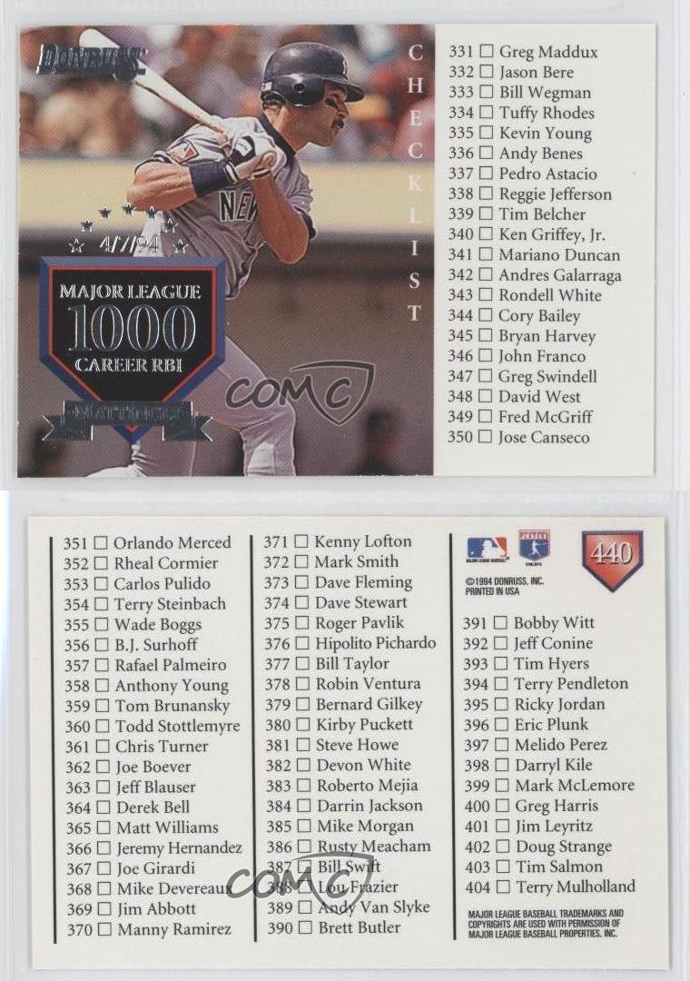 1995 Donruss 440 Don Mattingly New York Yankees Baseball
