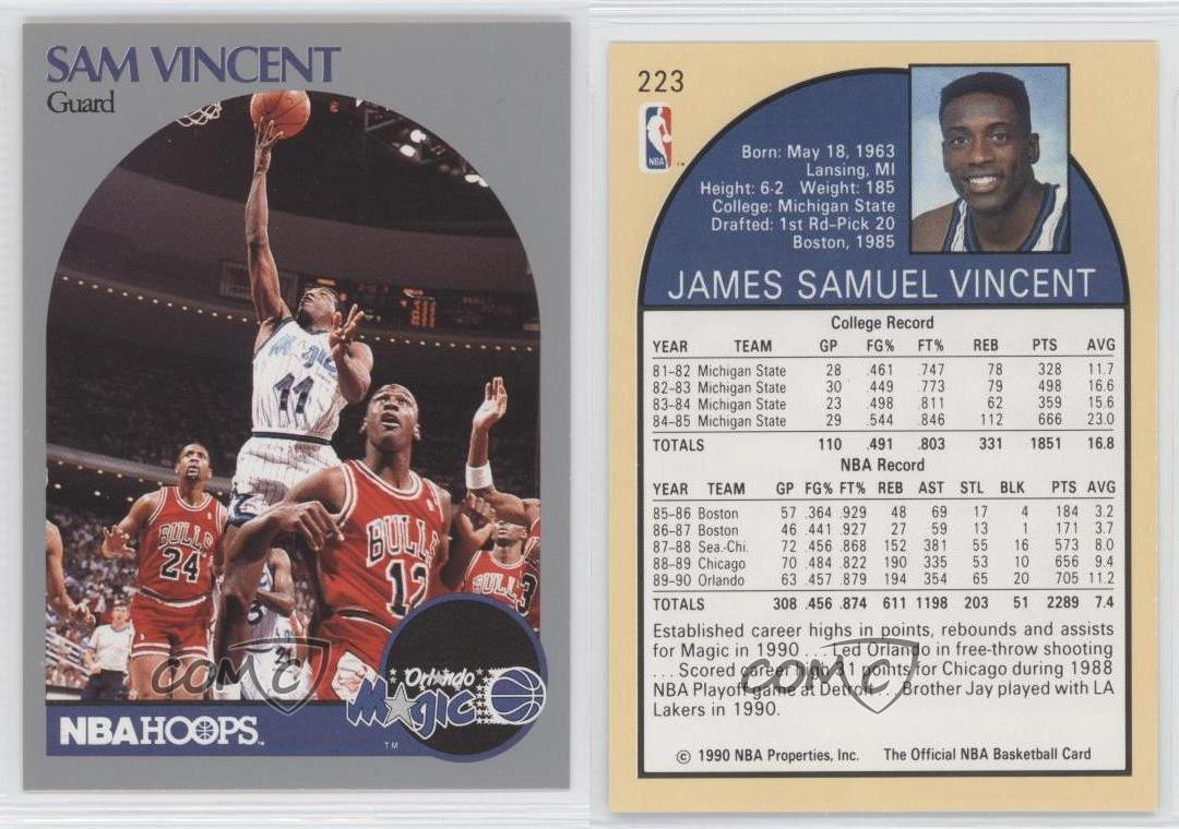 premium selection 2540a 990dc on sale 1990-91 NBA Hoops 223.1 Sam Vincent Michael Jordan ...