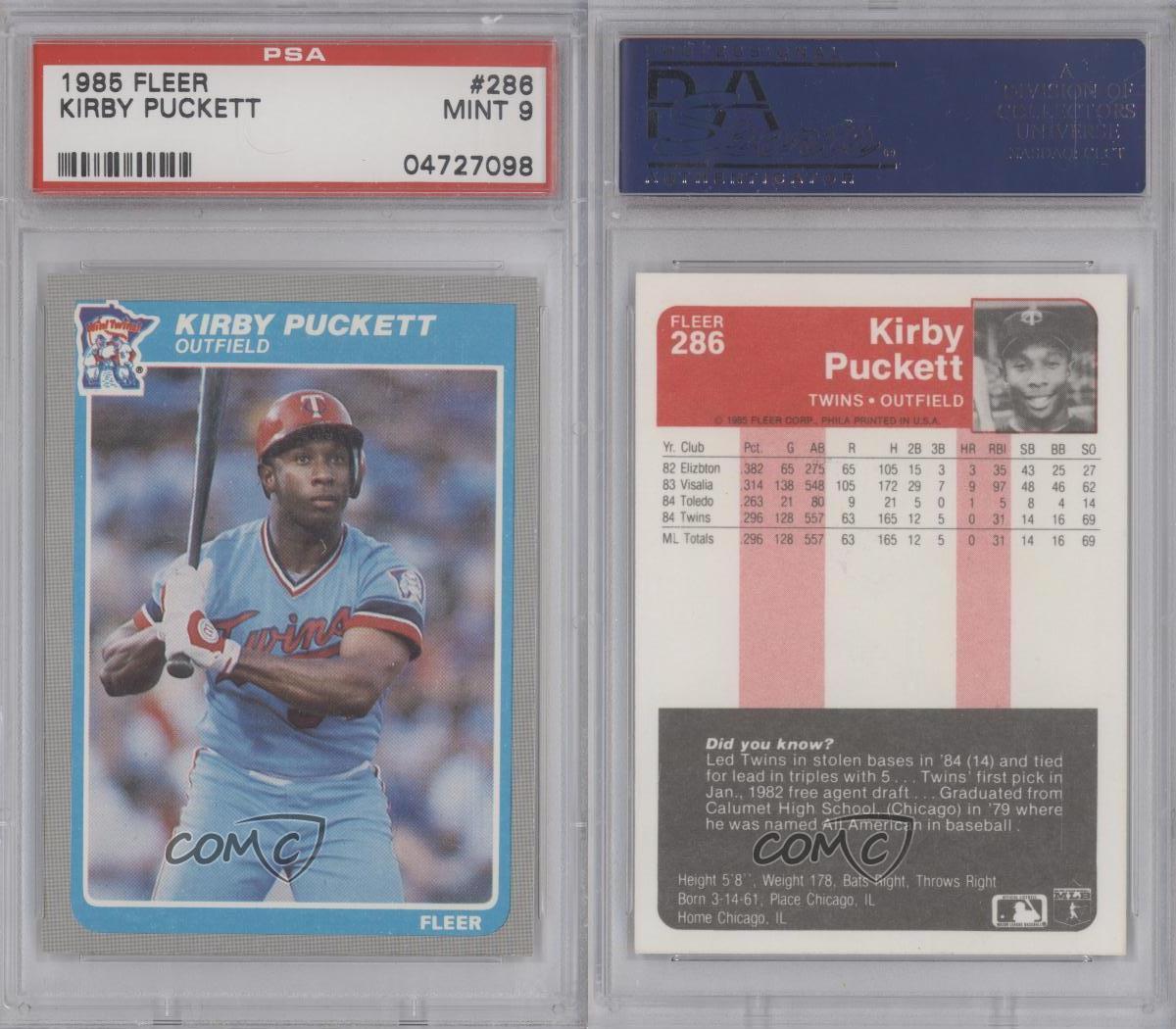 1985 Fleer #286 Kirby Puckett PSA 9 Minnesota Twins RC