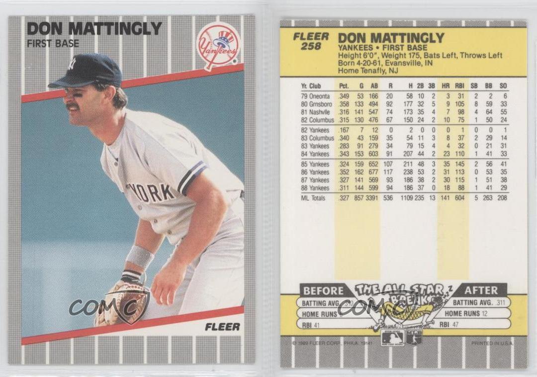 1989 Fleer 258 Don Mattingly New York Yankees Baseball