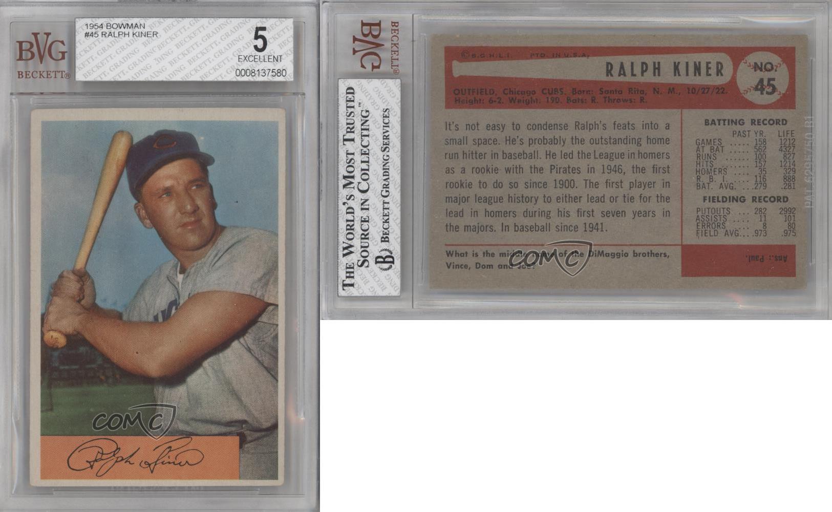 1954 bowman 45 ralph kiner bvg 5 chicago cubs baseball card ebay. Black Bedroom Furniture Sets. Home Design Ideas