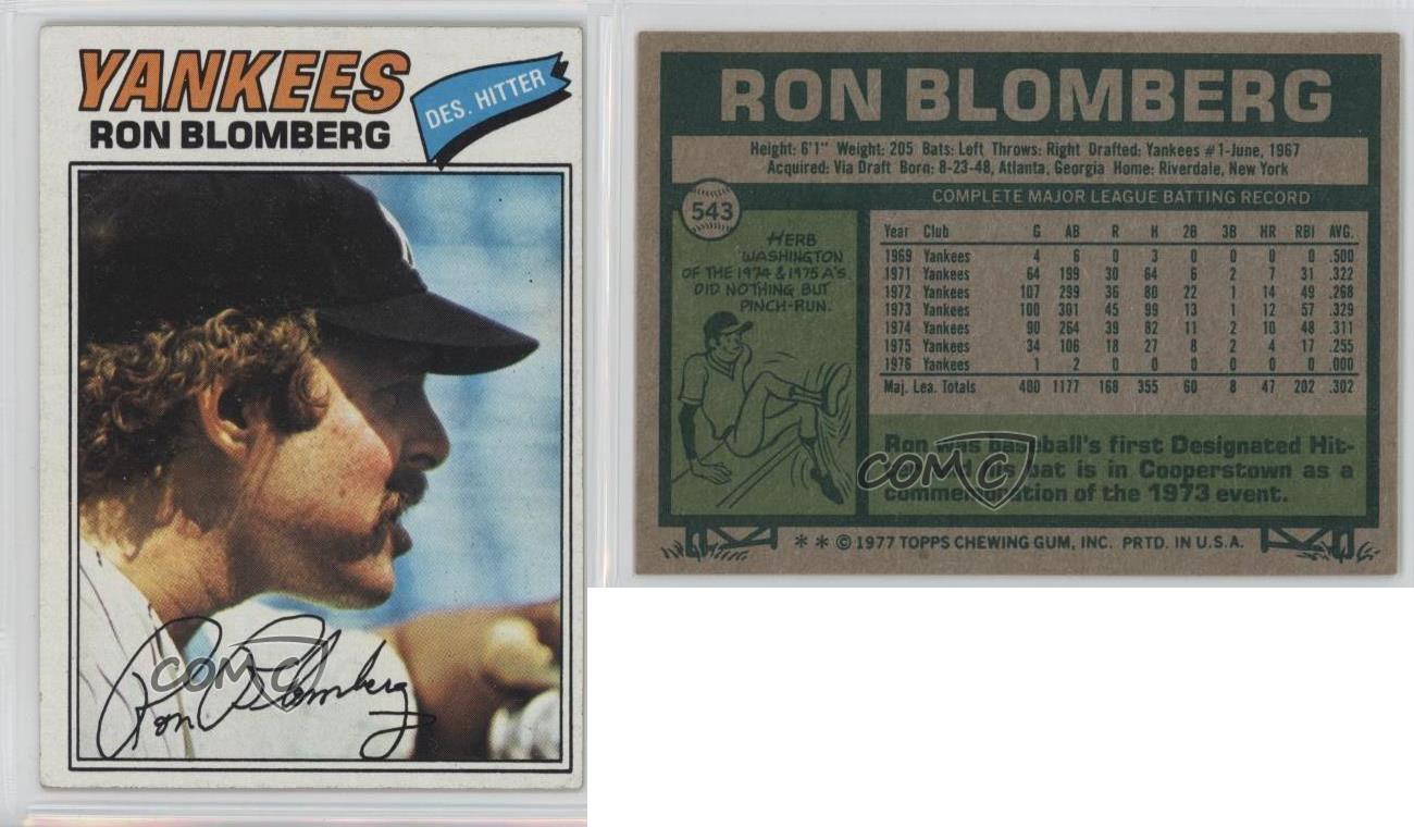 1977 Topps 543 Ron Blomberg New York Yankees Baseball