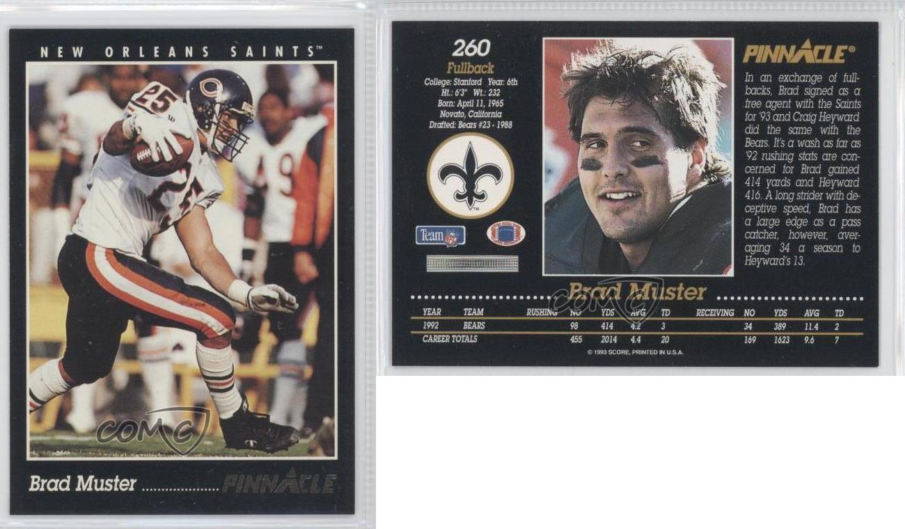 1993 pinnacle 260 brad muster chicago bears new orleans saints football card ebay. Black Bedroom Furniture Sets. Home Design Ideas