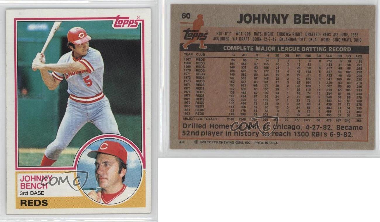 1983 Topps 60 Johnny Bench Boston Red Sox Cincinnati Reds