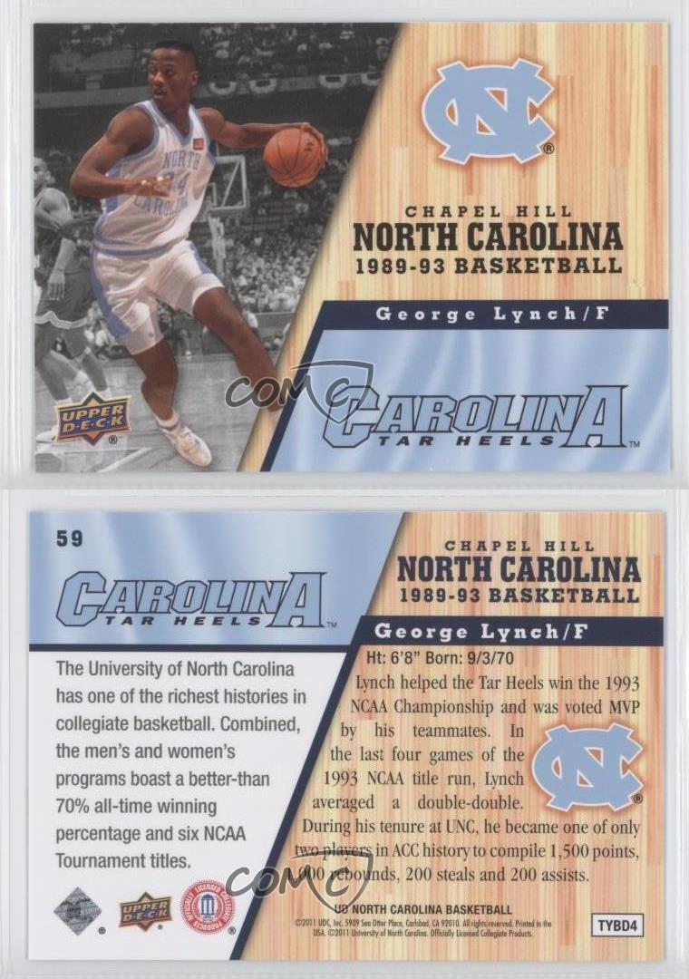 2010 11 ud north carolina basketball 59 george lynch unc for Unc business cards