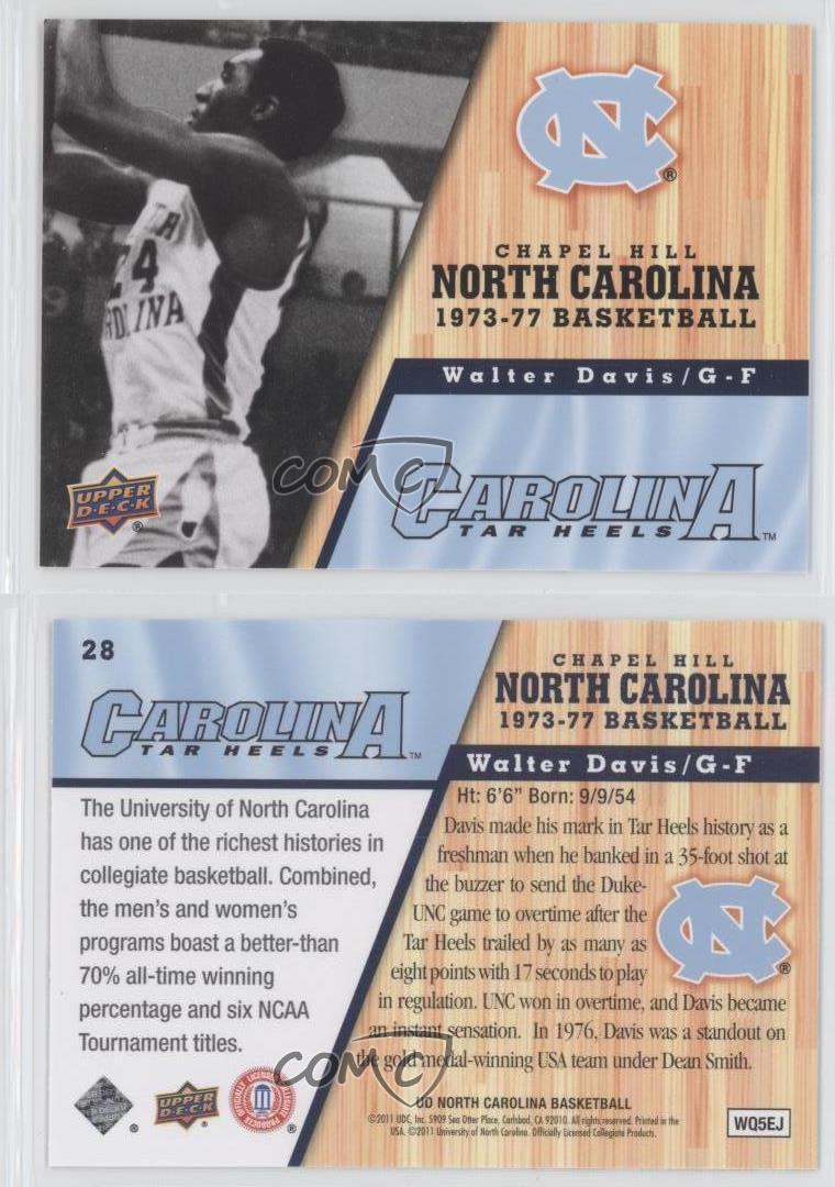 2010 11 ud north carolina basketball 28 walter davis unc for Unc business cards