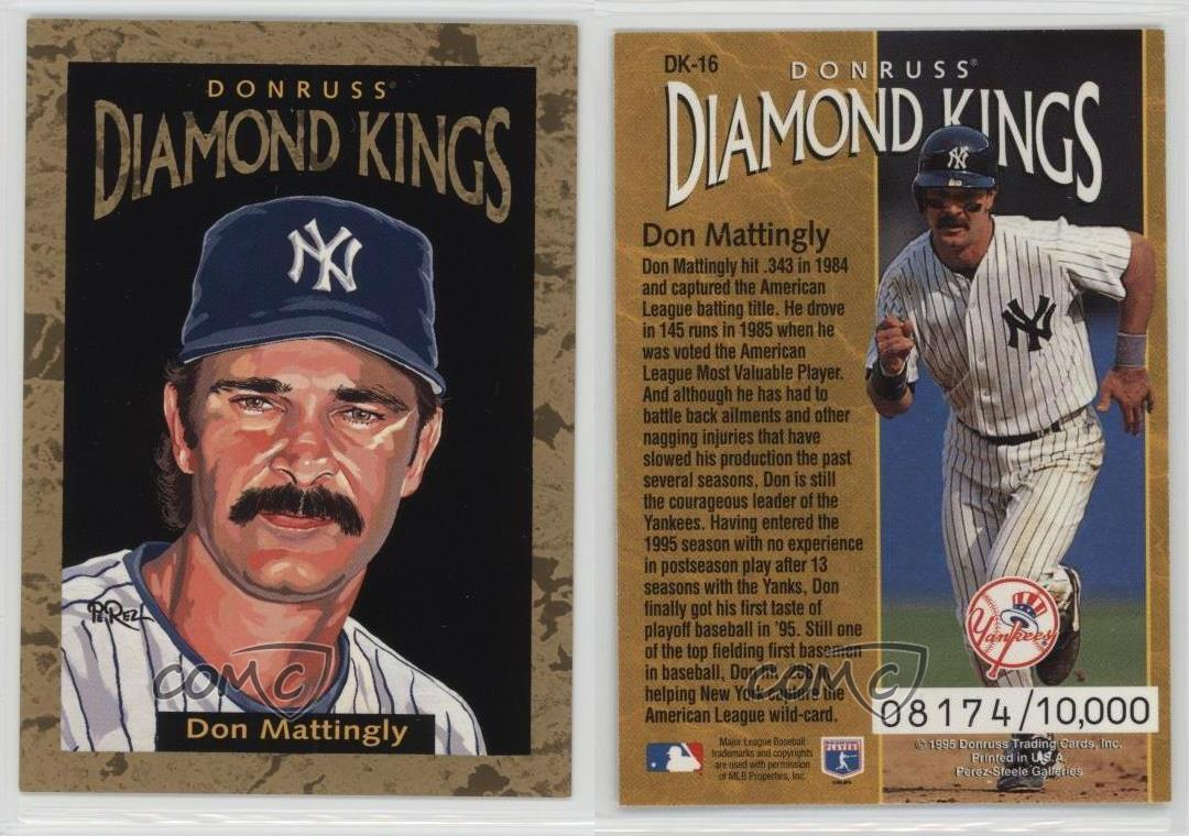 1996 Donruss Diamond Kings Dk 16 Don Mattingly New York