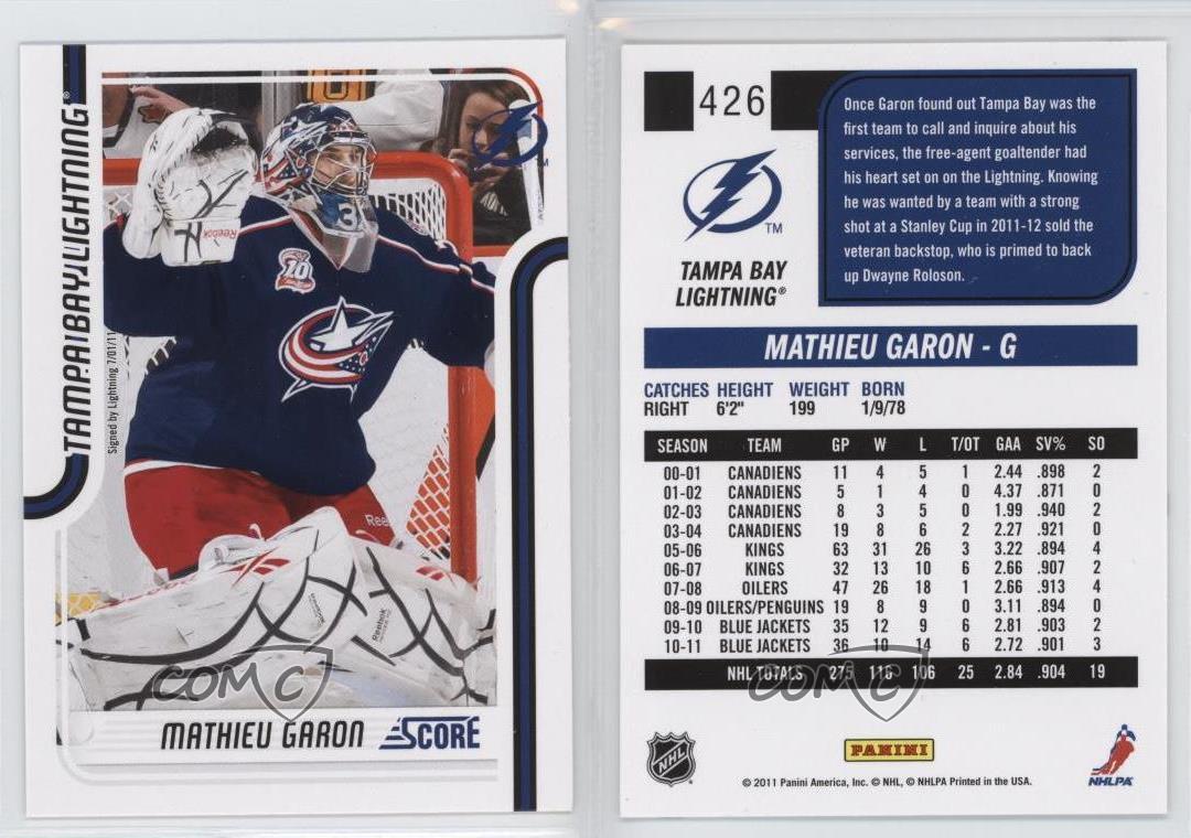 2011 12 Score 426 Mathieu Garon Tampa Bay Lightning Hockey Card EBay