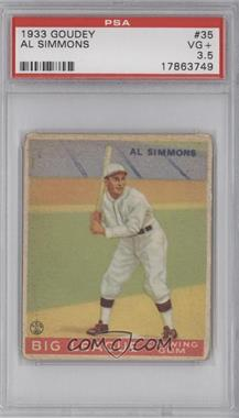 1933 Goudey Big League Chewing Gum - R319 #35 - Al Simmons [PSA 3.5]