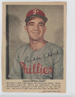 1950 Philadelphia Inquirer Fightin' Phillies Album #N/A - Bubba Church