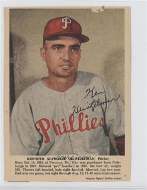 1950 Philadelphia Inquirer Fightin' Phillies Album #N/A - Ken Heintzelman [Good to VG‑EX]