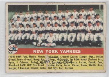 1956 Topps #251 - New York Yankees Team [Poor to Fair]